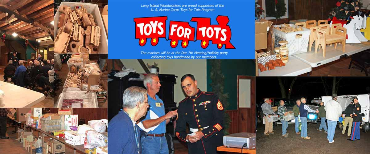 The Long Island Woodworkers donated 1,379 mostly handmade wood toys and $715 to the Toys for Tots