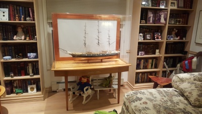 Cutty Sark model ship and display table